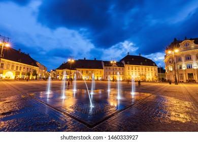 The Great Square in Sibiu. Sibiu, Sibiu County, Romania.
