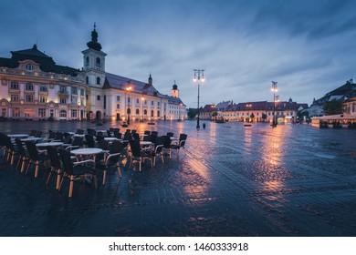 Great Square in Sibiu in rain. Sibiu, Sibiu County, Romania.