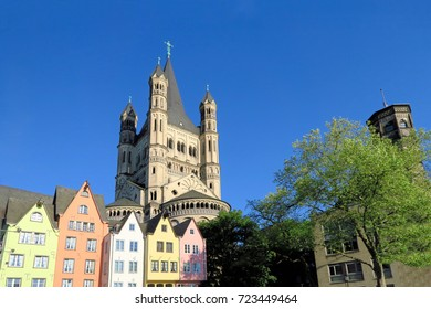 Great St. Martin Church in Cologne, Germany, as seen from the fish market.