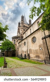 Great st. Martin church and patio with greenery in Cologne, Germany