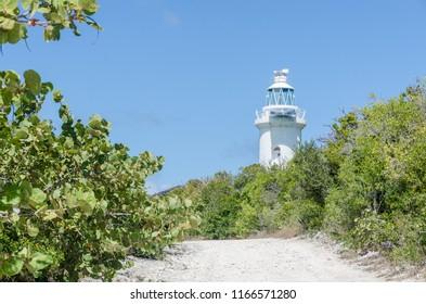 Great Stirrup Cay, Bahamas - Mar 10 2015: Old Lighthouse on Bahamian Island