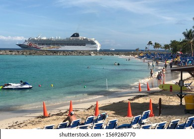 GREAT STIRRUP CAY, BAHAMAS-NOVEMBER 13, 2019:  Cruise ship at Great Stirrup Cay, a private island in the Bahamas owned by Norwegian Cruise Lines.