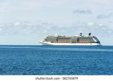 Great Stirrup Cay, Celebrity Reflection - January 08, 2016: Large cruise ship Celebrity Reflection of celebrity cruise lines near Great Stirrup Cay in daylight, horizontal picture