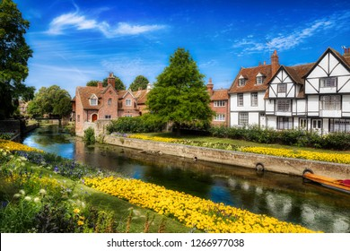 The Great Stour River Running through the City of Canterbury, near the Westgate Towers, Kent, England