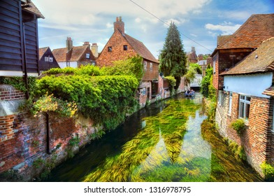The Great Stour River Running through the City of Canterbury, Kent, England