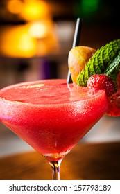 Great strawberry daiquiri in a night club.