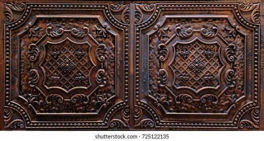 great stunning closeup view of interior ceiling decorative dark brown tiles