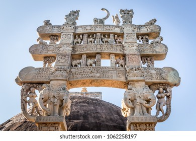 Great Stupa (Stupa 1) - ancient Buddhist monument. Sanchi, Madhya Pradesh, India
