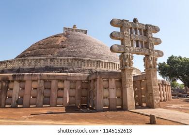 Great Stupa (Stupa 1) - ancient Buddhist monument. Sanchi, Madhya Pradesh, India