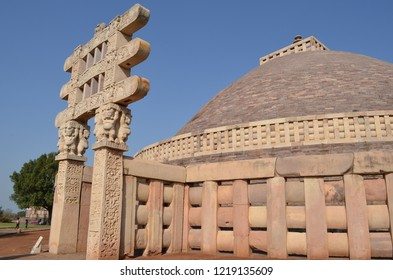 The Great Stupa (Stupa No1) at Sanchi, near Bhopal, Madhya Pradesh. It is the oldest structure originally commissioned by the emperor Ashoka the Great of the Maurya Empire in the 3rd century BC.