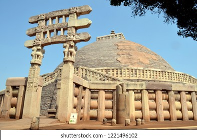 The Great Stupa (Stupa No1) at Sanchi, near Bhopal, Madhya Pradesh. It is the oldest structure originally commissioned by the emperor Ashoka the Great of the Maurya Empire in the 3rd century BC