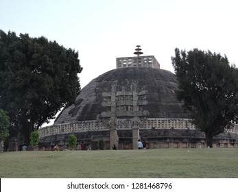"The ""Great Stupa"" (or ""Stupa No1"") at Sanchi is the oldest structure and was originally commissioned by the emperor Ashoka the Great of the Maurya Empire in the 3rd century BCE."