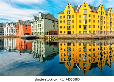 Great summer view of Alesund port town on the west coast of Norway, at the entrance to the Geirangerfjord. Old architecture of Alesund town in city centre.