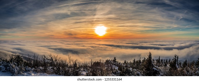 Great sunset inversion moment above the Jested hill, Liberec, Czech Republic.