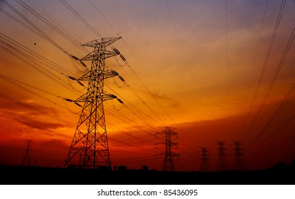 great sunset with pylon tower background
