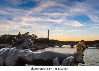 Great sunset view over the Seine river in Paris, France