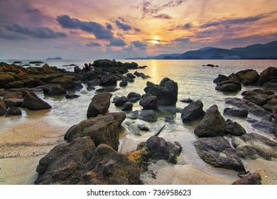 Great sunset view from Sungai Batu, Penang with soft focus effect due to long exposure technique