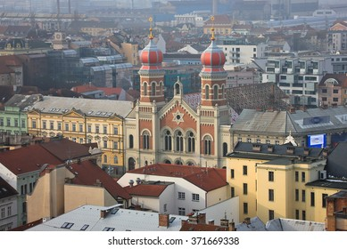 Great synagogue in Plzen from rooftop