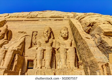 The Great Temple at Abu Simbel, left part, Egypt.