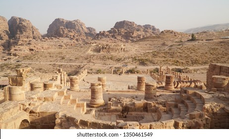 The Great Temple ruins of the Nabataean Kingdom in Petra, Jordan.
