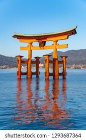 The great torii (O-torii) of Itsukushima shrine in Miyajima island, Hatsukaichi city, Hiroshima pref. Japan.