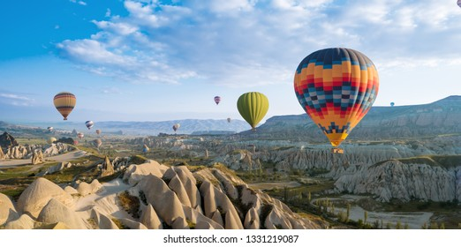 great tourist attraction of Cappadocia balloon flight. Cappadocia is one of the best places to fly with hot air balloons. Goreme, Cappadocia, Turkey.