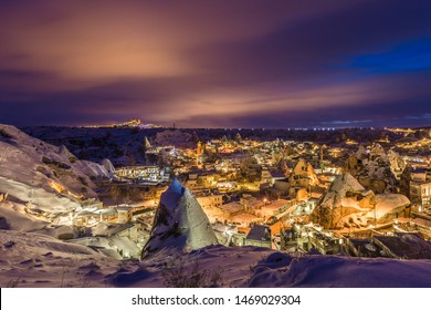 The great tourist place Cappadocia - at night time with beautiful light. Cappadocia is known around the world as one of the best places with mountains. Goreme, Cappadocia, Turkey at winter time