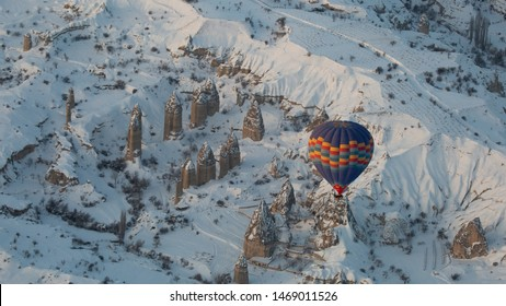 The great tourist place Cappadocia - at sunrise time with beautiful light. Cappadocia is known around the world as one of the best places with mountains. Goreme, Cappadocia, Turkey at winter time
