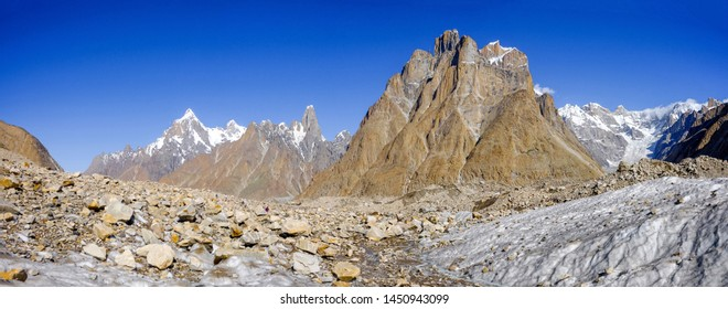 The Great Trango Towers are an assembly of impressive rock spire located on the north side of the Baltoro Glacier in the Northern areas of the Pakistan