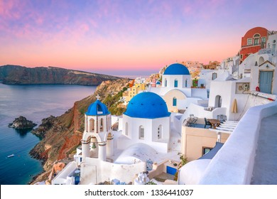 Great twilight view of Santorini island. Sunset on the famous Oia city, Greece, Europe