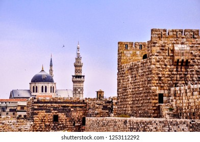 Great Umayyad mosque and old castle of Damascus Syria