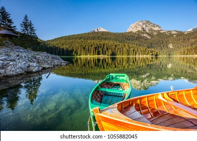 Great view of Black lake. Location National park Durmitor, village Zabljak, Montenegro, Balkans, Europe. Scenic image of amazing nature landscape. Wonderful summer scene. Discover the beauty of earth.
