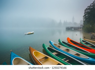 Great view of the Bohinj lake in foggy morning. Location famous Triglav national park, Bohinj valley, Julian Alps, Slovenia, Europe. Scenic image of concept of travel. Discover the beauty of earth.
