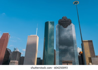 A great view of downtown Houston from I45 South in Houston Texas, USA