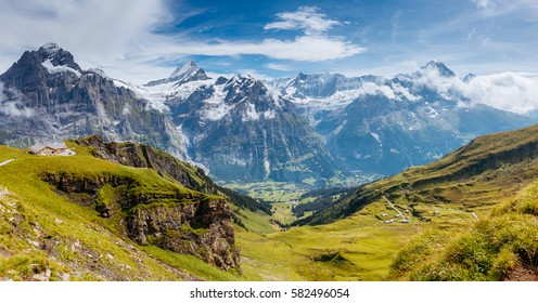 Great view of Eiger village. Picturesque and gorgeous scene. Popular tourist attraction. Location place Swiss alps, Grindelwald valley in the Bernese Oberland, Europe. Discover the world of beauty.