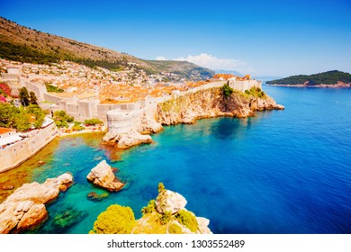 Great view at famous european city of Dubrovnik - Fort Bokar on a sunny day. Location Croatia, South Dalmatia, Europe. Mediterranean resort, UNESCO world heritage site. Discover the beauty of earth.