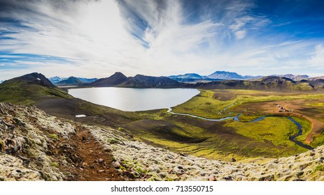 Great view of Highlands from mountain beside Alfavatn lake on the Laugavegur hiking trail. Iceland, dramatic and picturesque scene
