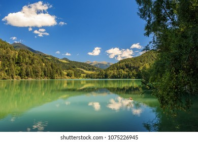 Great view of the lake Olang-Valdaora. Dolomiti alps, South Tyrol, Italy, Europe.