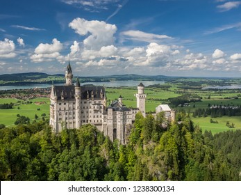 The great view of the Neuschwanstein Castle from the bridge, Germany