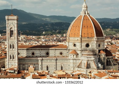 Great view on Duomo Cathedral built in 14th century in Florence, Tuscana, Italy. Historical center of Florence is a UNESCO World Heritage Site.
