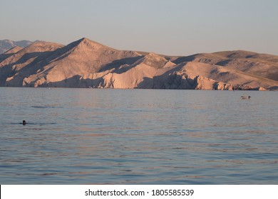 Great view on the ocean with Mountains and Boats. Blue ocean.