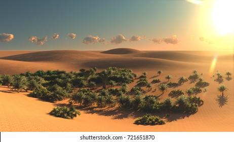 Great view on Sahara desert at sunset 3d rendering