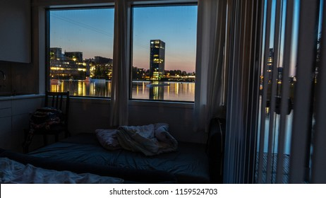 great view out a hotel room at night in Helsinki Espoo Finland, amazing view out of a hotelroom, vacation view goals