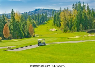Great view (panorama, outlook ) at the beautiful golf course. Vancouver, Canada.