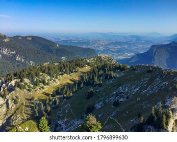 Great view from the peak of the Charmant Som, at Saint-Pierre-de-Chartreuse, France. French Alps.