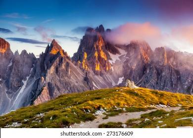 Great view of the top Cadini di Misurina range in National Park Tre Cime di Lavaredo. Dolomites, South Tyrol. Location Auronzo, Italy, Europe. Dramatic unusual scene. Beauty world.