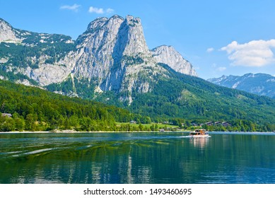 Great view of village above Grundlsee lake in Austrian Alps. Popular tourist attraction. Location place Austrian alps, Steiermark, Europe.