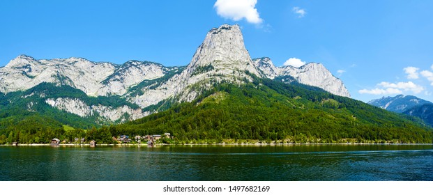 Great view of village above Grundlsee lake. Location place Austrian alps, Steiermark, Europe.
