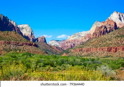 Great view of Zion Canyon National Park, Utah