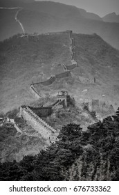 The great wall of China in black and white